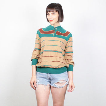 Vintage 70s Sweater 1970s Jumper Tan Teal Green Brown Striped Hipster Pullover Slouch Fit Lightweight Knit Shirt Boyfriend Sweater M Medium