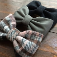 Black, gray/green, and new pink and gray flannel bow lot for fall.  Seaside Sparrow hair bows make the perfect gift.