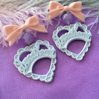 Baby Blue, Lilac and Peach Sweetheart Earrings
