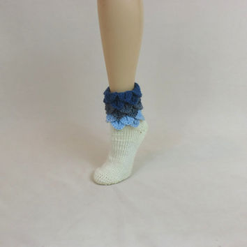 Dragon Scale House Socks - Blue Ombre Slippers - Leg Ankle Warmers