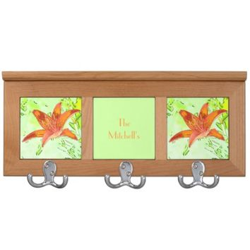 Artistic Tiger Lily Personalized Coat Rack
