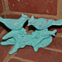 Vintage Aqua Blue Whimsy Love Birds /Whimsical/ Outdoor decor /Shabby Chic /Upcycled