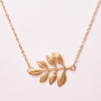 Gold plated leaf-branch pendant necklace, elegant simple necklace, dainty jewelry, everyday wear necklace