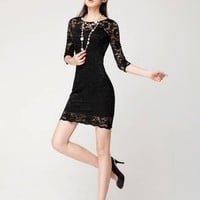 2/3 Sleeve Lace Dress 090332