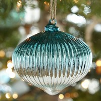 BLUE AND SILVER RIBBED ONION ORNAMENT