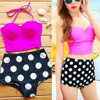 Polka Dot Vintage Retro High Waist Push Up Bandeau Bikini Swimsuit Swimwear Set