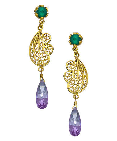 Yvone Christa Green Onyx Filigree Drop Earrings - Max & Chloe