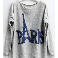 Bat Sleeves Jumper with Paris Eiffel Tower Print