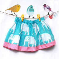 Girls Skirt Pink and Blue Elephant - Beach Wear