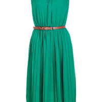 Sleeveless Pleats Green Dress [NRBD0572] - $67.99 :