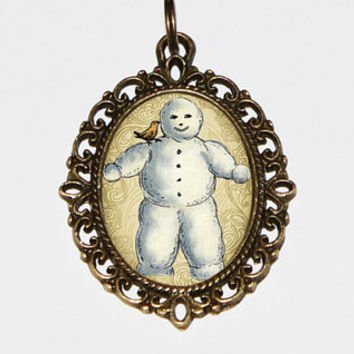 Snowman Necklace, Winter, Christmas Jewelry, Oval Pendant