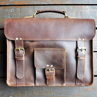 Men's Handmade Leather Briefcase 15.6-inch Laptop Bag Leather Backpack Handbag