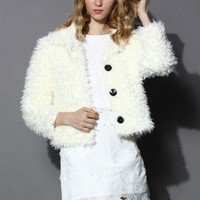 Chicwish Faux Shearling Coat in Cream White