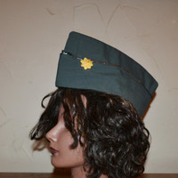 Vintage Garrison Hat Green Cap Pinup Hat Military WWII US Army Officers Cap Wedge Cap Halloween Costume Cosplay Men's Size 7