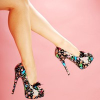 Dia de Las Muertos Platform from Pinup Couture Shoes - Shoes | Pinup Girl Clothing