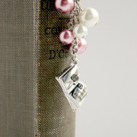 "Pink & White Pearl ""Once Upon a Time"" Beaded Bookmark - Fairy Tale Bookmark - Ready to Ship"