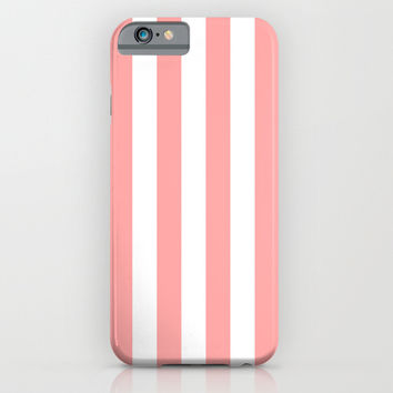 Coral Pink Stripe Vertical iPhone & iPod Case by BeautifulHomes