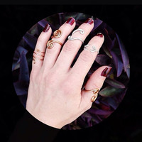 Three ring set : Hand crafted , wire wrapped, adjustable midi rings!