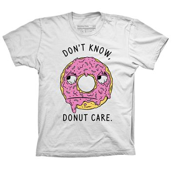 "Unisex ""Don't Know Donut Care"" Tee by Pyknic (White)"