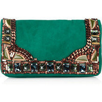 Matthew Williamson|Embellished suede clutch|NET-A-PORTER.COM