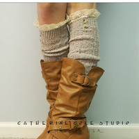 The Nordic Lace Boot Sock -Something really special for your tall boots -Pretty tweed cable knit long knee socks w/ 2 buttons, cotton lace