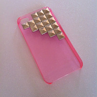 Transparent Neon Pink x Silver Studs iPhone 4 4s Case