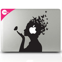 Vinyl MAC DECAL laptop stickers Wall Geekery Steampunk Computer Geekery- Butterfly Girl- Removable Decal 134