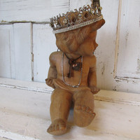 Large cherub statue with crown wooden antique hand carved shabby chic embellished angel sculpture home decor anita spero