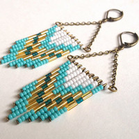 Turquoise and White Beaded Earrings