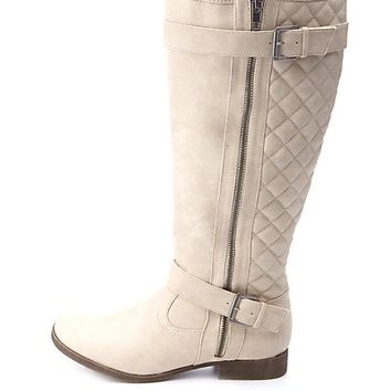 QUILTED SIDE ZIPPER BELTED RIDING BOOTS