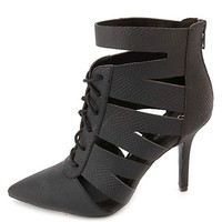 QUPID PYTHON CUT-OUT LACE-UP POINTED TOE BOOTIES