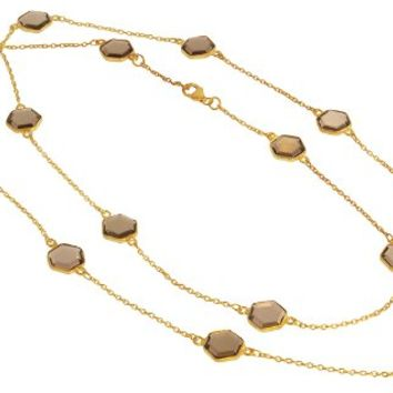 SKU Jewelry Gold Plated Sterling Silver Necklace with Smokey Quartz
