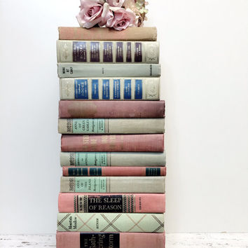 BLUSH PINK and MINT,Mint Books for Wedding,15 books,Blush Pink Books,Shabby Chic,Baby Shower,Photo Prop,Bridal Shower Books,Interior Design