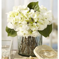 Faux Hydrangea Arrangement in Clear Glass Vase