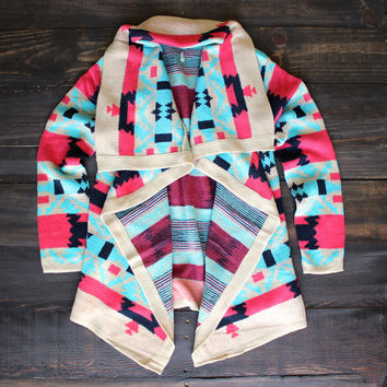 cozy knit sweater | turquoise bonfire cardigan aztec colorful