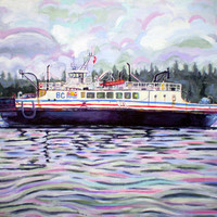 "ORIGINAL acrylic painting on stretched canvas - Kahloke - The Hornby Ferry - 14"" x 18"""