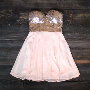 restocked rose gold sequin strapless dress homecoming prom wedding events school dances winter formal