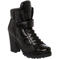 Prada Women's Black Leather Lace-up Lug Sole Booties