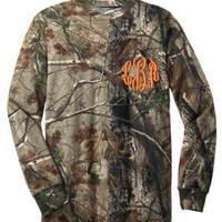 Monogrammed Camo Long Sleeve Pocket Tee Shirt at The Pink Monogram