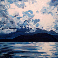 "ORIGINAL acrylic painting on gallery wrapped canvas - Blue Mountain No.2 - 18"" x 24"""