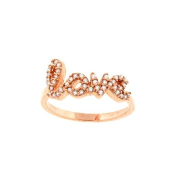 Rose Gold Plated 925 Sterling Silver CZ Love Ring