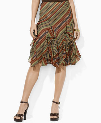 Lauren by Ralph Lauren Skirt, Ingrid Ruffled Striped - Womens Lauren by Ralph Lauren - Macy's