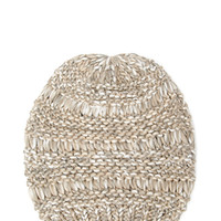 Slouchy Mixed-Knit Beanie
