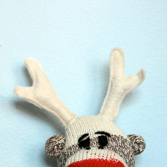 Sockelope - sock monkey antlers, deer antlers, plush, stuffed animal