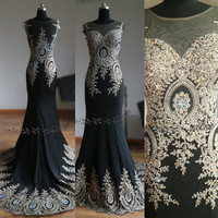 Harvey Bridal Backless Sliver Beads Sexy Long Prom Dresses 2015 New Arrival Mermaid  Evening dresses Black Crystal Bead