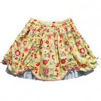 Green Floral Cotton Skirt with Gathered Hem (Shaza)