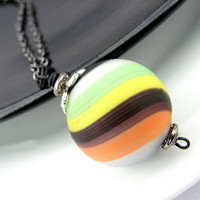 Multicolor Necklace, Glass Pendant, Black, Orange, Yellow, Green, Blue Hollow Glass Bead, Black Chain