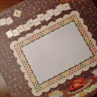 Premade Thanksgiving 12 x 12 Scrapbook Page Layout