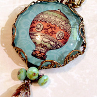 Vintage Style Picture Necklace - Victorian Hot Air Balloon Art Necklace - Whimsical Handmade Glass Picture Pendant Charm Jewelry