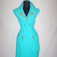 1980s Bright Turquoise Beaded Vest/Mini Skirt Set